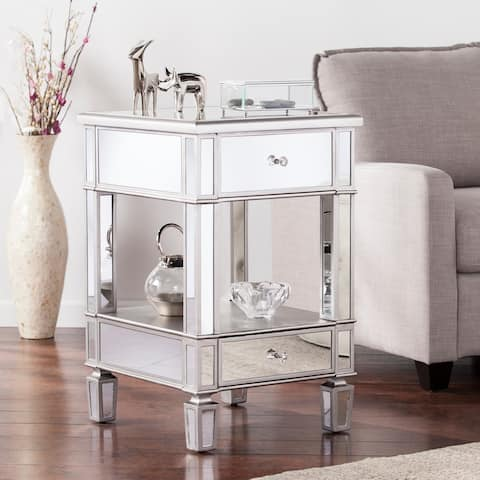 Vedlin Matte Silver Mirrored Side Table