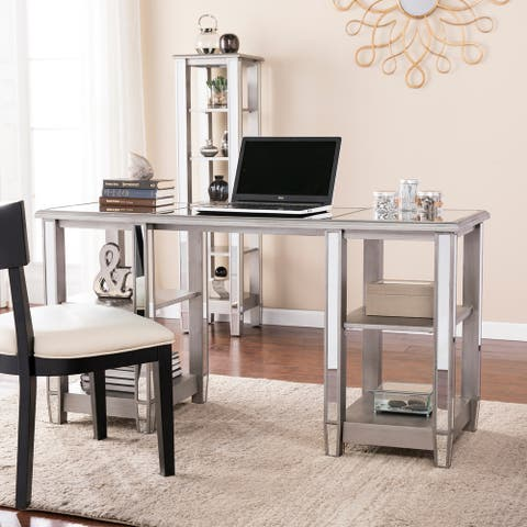 Vedlin Matte Silver Mirrored Desk
