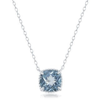 La Preciosa Sterling Silver Square Amethyst, Blue Topaz, or Garnet Rope Design Border 16+2'' Necklace