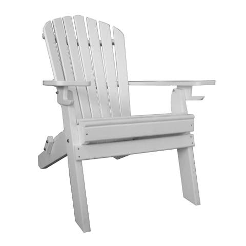 DISCONTINUED - Poly Deluxe 7 Slat Folding Adirondack Chair with 2 Cup Holders