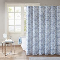 Madison Park Kora Aqua/ Indigo Printed Watercolor Sheer Shower Curtain with Lining
