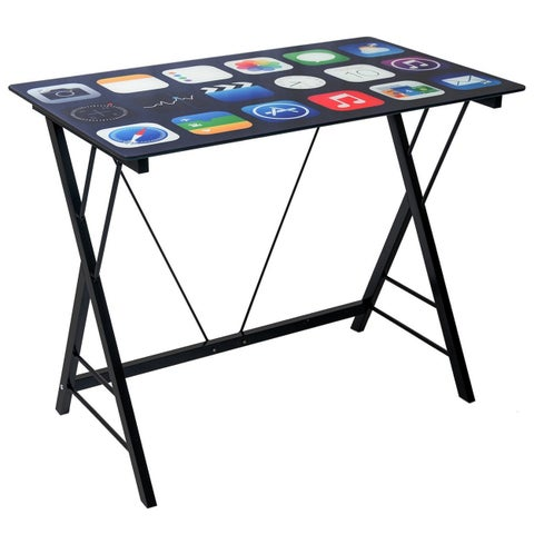 Stylish Tempered Glass Black Cell Phone Apps Computer Desk for Kids
