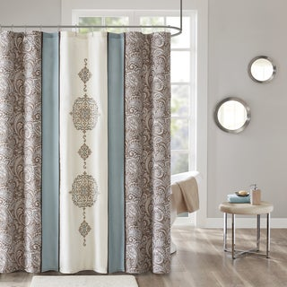 510 Design Marlena Blue Embroidered and Pieced Shower Curtain with Liner
