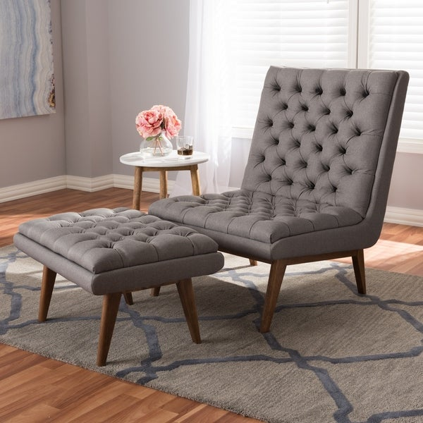 Exceptionnel Mid Century Upholstered Chair And Ottoman Set By Baxton Studio