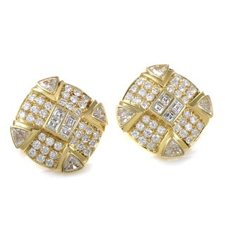 Yellow Gold Diamond Pave Earrings MFC02-032614