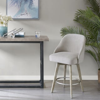 Madison Park Walsh Grey Counter Stool With Swivel Seat