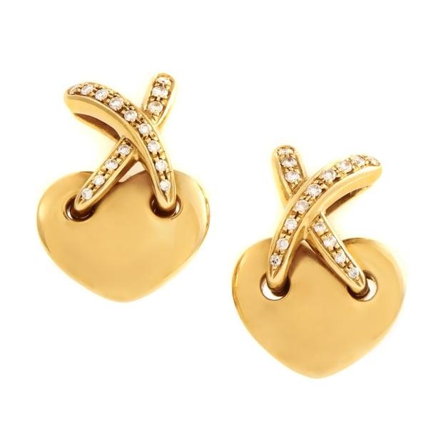 Chaumet Liens Women X27 S Yellow Gold Diamond Heart Clip On Earrings