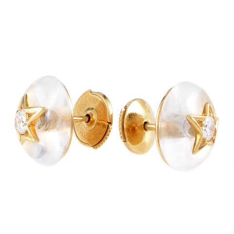Chanel Comete Yellow Gold Diamond and Crystal Stud Earrings