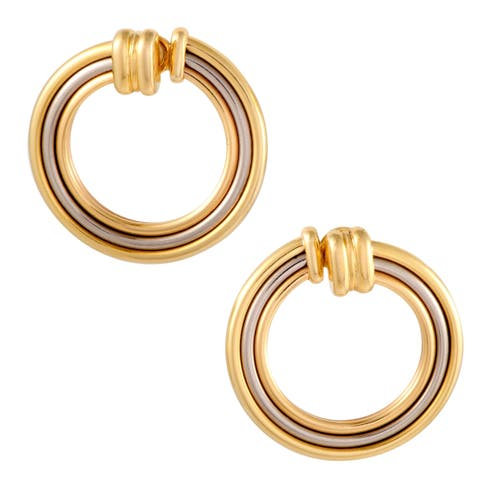 Trinity Womens Yellow White and Rose Gold Large Circle Clip-on Earrings