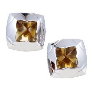 Bvlgari Piramide Women's White Gold Citrine Clip-on Earrings