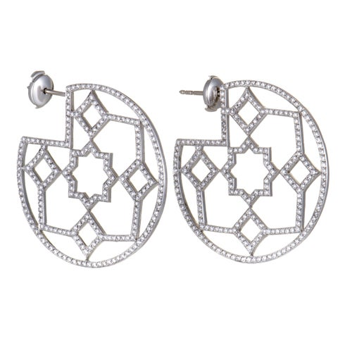 Pre-Owned Tiffany & Co. Paloma Picasso Marrakesh Platinum Diamond Pave Hoop Earrings