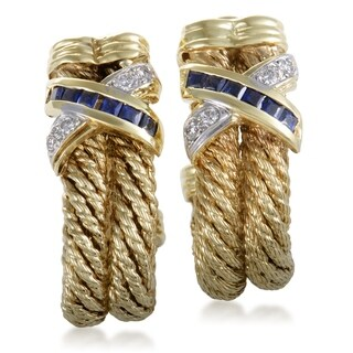 Womens Large Gold Diamond and Sapphire Invisible Set Earrings