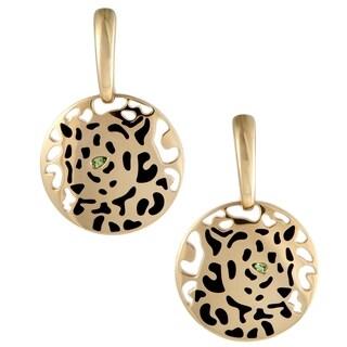 Cartier Panthere Yellow Gold Tsavorite and Black Enamel Dangle Earrings