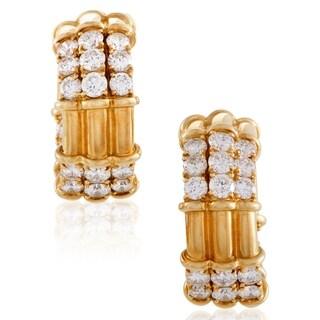 Piaget Womens Yellow Gold Diamond Hinged Triple Hoop Earrings