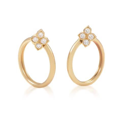 Cartier Women Yellow Gold Diamond Flower Clip-on Hoop Earrings