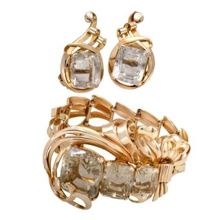 Vintage Rose Gold Citrine Bracelet and Earring Set