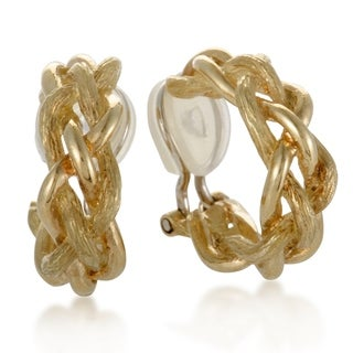 Pre-Owned Tiffany & Co. Vintage Small Yellow Gold Braided Clip-on Earrings