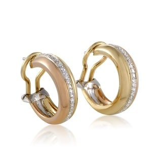 Cartier Yellow White and Rose Gold Diamond Earrings