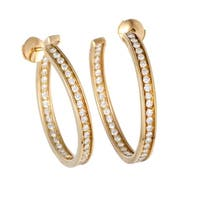 Cartier Yellow Gold Diamond Inside Out Large Hoop Earrings