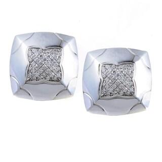 Bvlgari Piramide Women's White Gold Partial Diamond Pave Clip-on Earrings