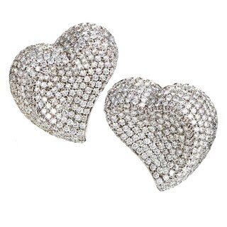 Women's White Gold Diamond Micro Pave Clip-on Heart Earrings