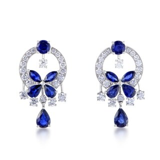 Graff Classic Butterfly White Gold Full Diamond Pave and Sapphire Dangle Earrings