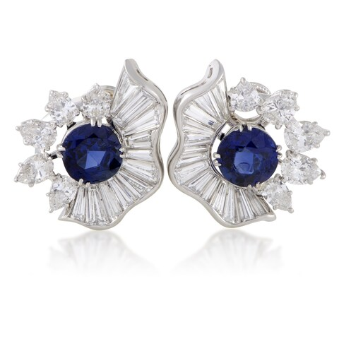 Womens Platinum Diamond and Blue Sapphire Clip-on Earrings