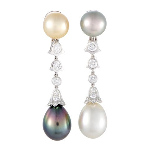 Platinum Diamond and Tahitian and South Sea Pearl Clip-on Earrings