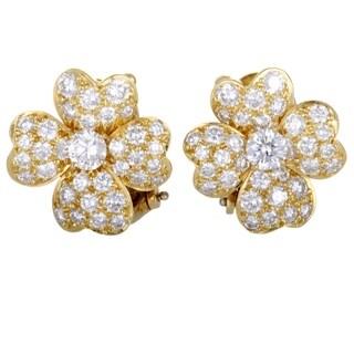 Van Cleef & Arpels Cosmos Yellow Gold Full Diamond Pave Flower Earrings