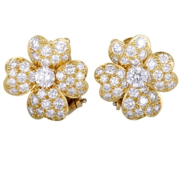 c8b856f7471 Van Cleef  amp  Arpels Cosmos Yellow Gold Full Diamond Pave Flower Earrings