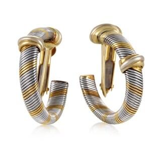 Cartier Vintage 1980's Yellow Gold Stainless Steel Hoop Earrings