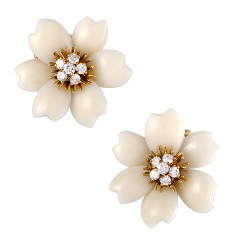 Van Cleef & Arpels Vintage Rose de Noël Yellow Gold Diamond and White Coral Clip-on Earrings