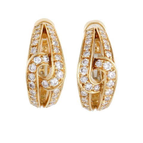 Cartier Womens Yellow Gold Diamond Twisted Clip On Earrings