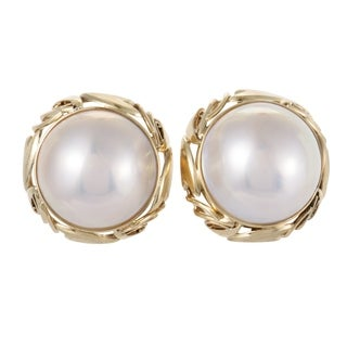 Yellow Gold White Mabe Pearl Clip-on Earrings