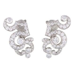 Dentelle Womens Platinum Full Diamond Pave Clip-on Earrings