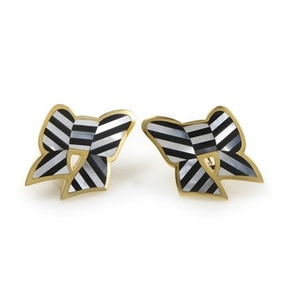 Pre-Owned Tiffany & Co. Yellow Gold Onyx & Mother of Pearl Bow Clip-On Earrings