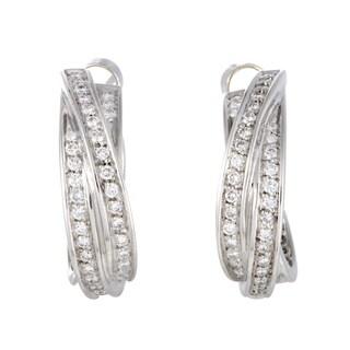 Cartier Trinity White Gold Full Diamond Pave Hoop Earrings
