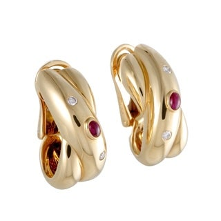 Cartier Yellow Gold Diamond and Ruby Earrings