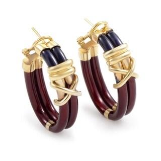Nouvelle Bague Women's Yellow Gold Enamel Hoop Earrings