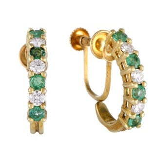 Pre-Owned Tiffany & Co. Yellow Gold Diamond and Emerald Screw Back Earrings