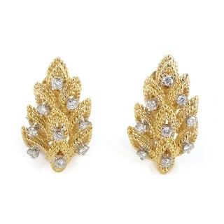 Pre-Owned Tiffany & Co. Yellow Gold & Diamond Leaf Earrings