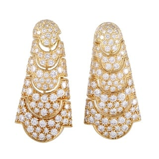 Cartier Vintage Yellow Gold Full Diamond Pave Drop Earrings