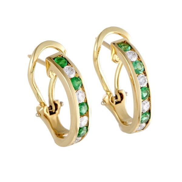cb841d75b Pre-Owned Tiffany & Co. Yellow Gold Diamond and Emerald Earrings