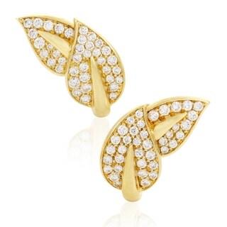 Van Cleef & Arpels Womens Yellow Gold Diamond Pave Leaf Earrings
