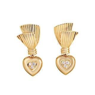 Van Cleef & Arpels Yellow Gold Diamond Heart Earrings