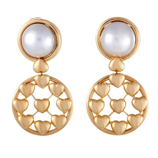 Dior Yellow Gold Mabe Pearl Dangling Clip-on Earrings