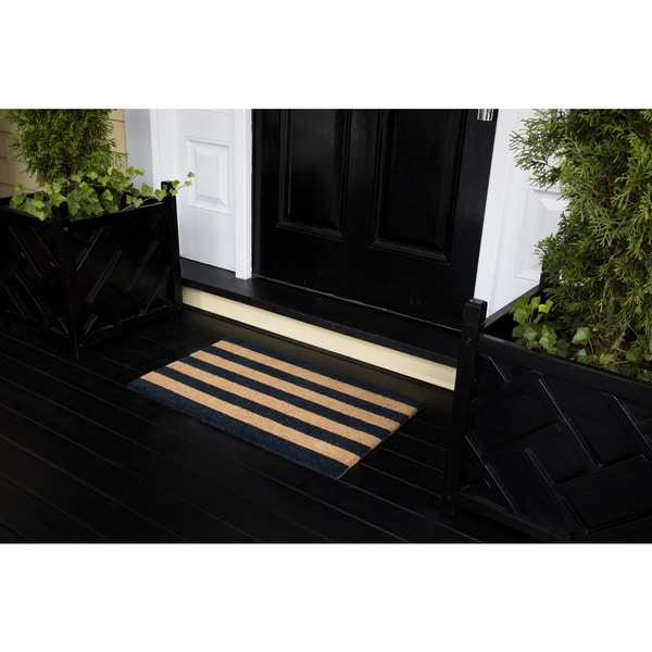 "Erin Gates by Momeni Park Stripe Black Hand Woven Natural Coir Doormat - 1'6"" x 2'6"""