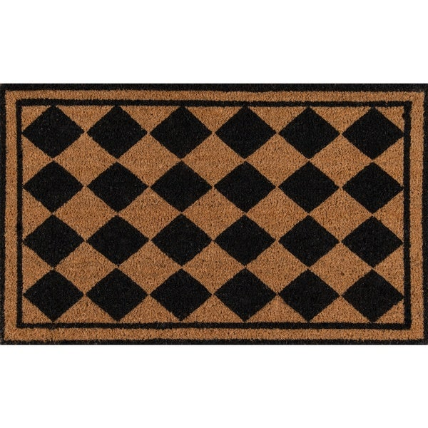 "Erin Gates by Momeni Park Harlequin Black Hand Woven Natural Coir Doormat - 1'6"" x 2'6"""