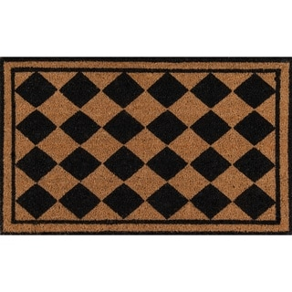 "Erin Gates by Momeni Park Harlequin Black Hand Woven Natural Coir Doormat - 1'6"" x 2'6"""