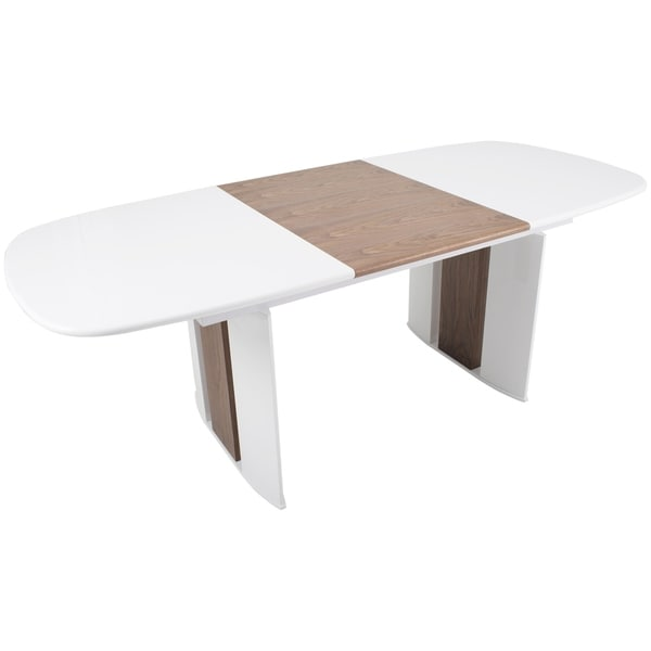 Mix White High Gloss Solid Walnut Wood Hide Away Leaf Extension Dining Table